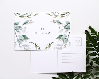 Oh Hello - Botanical Postcard