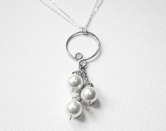 Mothers Day Pearl Necklace, Pearl Pendant, Silver Hoop Jewelry, Pearl Drop Necklace, Wedding Necklace