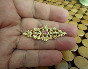 Estate Goldtone Vintage Pink Austrian Chrystal Brooch
