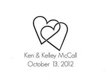 custom wedding stamp save the date two hearts custom rubber stamp