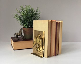 Brass Eagle Bookends, Vintage Library Decor, Office Bookcase Organization, Colonial Style, Patriotic Gifts for Him, Father's Day
