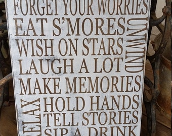 Fire Pit Rules Sign primitive Typography Word Art  12x24