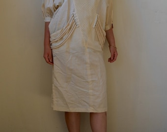 Eye catching avant garde ivory linen dress with detail- S/M/L