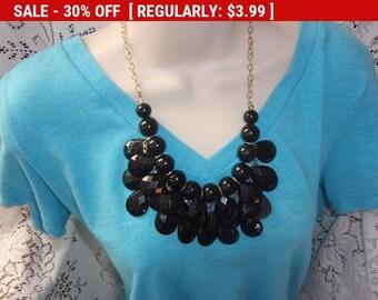 Vintage black dangling  bead necklace, hippie, boho