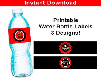 Graduation Party Water Bottle Labels - 2018 Graduation Party Printable Wrappers, Red and Black, DIY Grad Party Favor, High School, College