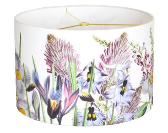 X-LARGE Linen Violet Garden Party Lamp Shade - Orchid Pink Lavender Flower Lampshade  - 16 17 18 Inch Custom Made to Order Drum Lamp Shade