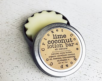 LOTION BAR - Lime Coconut Lotion Bar - stocking stuffer  - skin care - body lotion - hand lotion - solid lotion bar