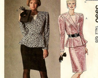 A Long Sleeve, Front Button Peplum Top w/Dickey and Slightly Gathered Straight Skirt Pattern for Women: Uncut - Sizes 6 & 8 • McCall's 3990