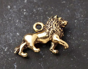 Lion Charm, Gold Lion Charm, 3-Dimensional, Finely Detailed, Antique Gold, Made in the USA, 16X21mm, 1Pc, AB79