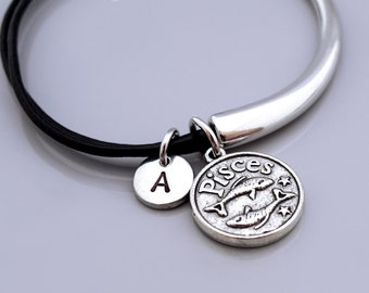 Pisces bracelet, Pisces bangle, Pisces Zodiac charm bracelet, Pisces zodiac bangle, Zodiac jewelry, Leather bracelet, Leather bangle