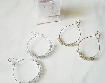 Beaded Hoop Earrings, Teardrop Hoops, Glass Beads,Handmade Wirewrapped,14k Gold Filled,Gifts for her,Bridesmaid,Birthday Gift,Holiday,Silver