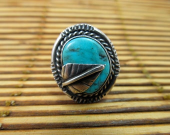 Turquoise & Sterling Hand-Wrought Ring Item W-#112