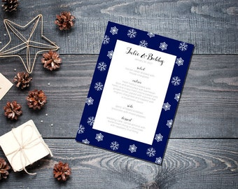 Winter Snowflake Menu Wedding Party Romantic Christmas Navy Blue New Years Eve - Large Snowflakes