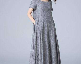 linen clothes, gray dress, shift dress, pleated dress, high low dress, asymmetrical dress, womens dresses, plus size dress 1776