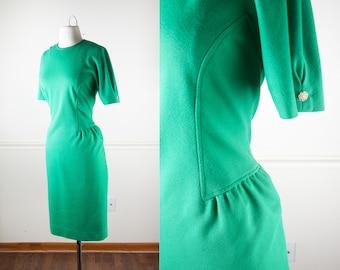 Kelly Green Secretary Dress, Mod 60s Dress, Kelly Green Dress, Mod Dress, Day Dress, 70s Dress, Sheath Dress, 60s Mod Clothing, Retro Dress