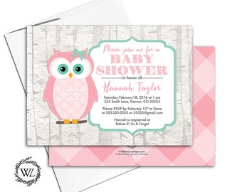 Woodland baby girls shower invitations | pink and green baby shower invites birch trees | Printable or printed - WLP00743