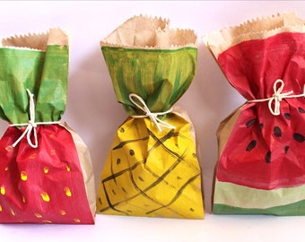 Strawberry Watermelon & Pineapple Paper Party favour bags, Tropical fruit party
