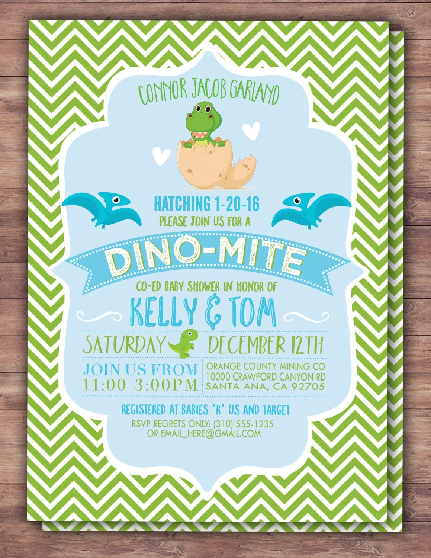 Dinosaur, baby shower, invitation, dino baby, chevron pattern ...