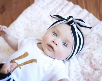 Black and white striped top knot headband, turban, head wrap, stripes, trendy, hair bow,mommy and me, sale, best seller, adult, baby, child