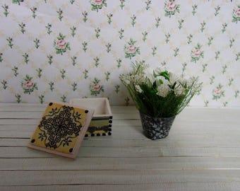 White bouquet in pots + casket (set). Miniature Dollhouse. 1:12 Scale