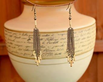 Long Bohemian Earrings with Bamboo and Metal