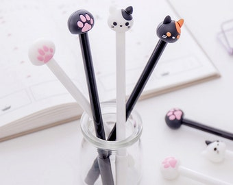 Set of 4, Cat pens, Cute Cat Gel Pen, Cat Paws pen, Kawaii Stationary, Cute Pens, sign pen, gel ink pen, Planner Pen, Black Gel Pens, Kawaii