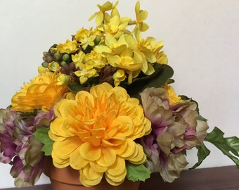 Clay Pot of Faux Silk Mini Mums Gold Mums with Lavender and Gray Hydrangeas