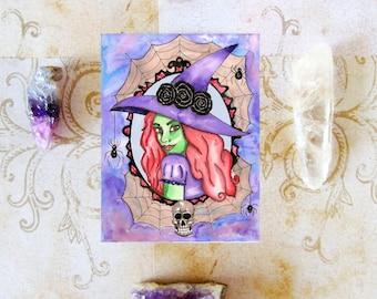 Witch Art Prayer Card Halloween Art Samhain Occult Magick Witchcraft Fantasy Art Pagan Art Gothic Art Horror Art Halloween Decor Wicca