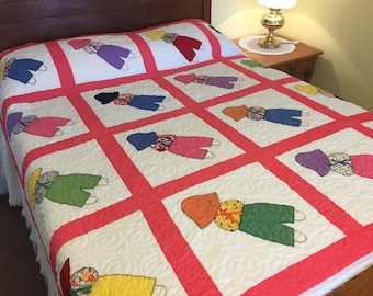 Vintage Handmade Quilt, Cotton Pink White, Appliqued Overall Sam, Cottage Decor, 72 inch x 72 inch
