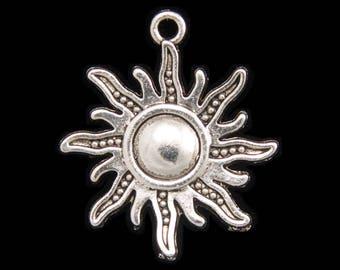 Antique Silver Sun Pendant Charm - Set of 6