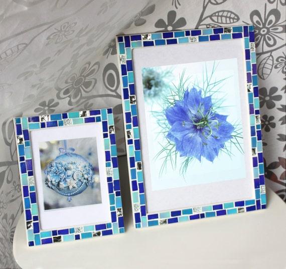 Blue frame set - 5x7 frame - 8x12 frame - Mosaic frame set - Picture ...
