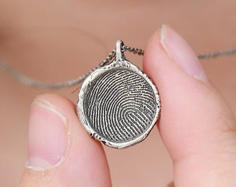 Personalized Finger Print Necklace, Finger Jewelry, Custom Finger Print, Finger Sterling Silver, Oddblanc Jewelry