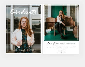 Simple Preppy Graduation Announcement - Class of 2018 Grad - Grad Announcement - Grad Card - Senior Graduation Template for Photographers