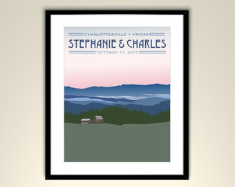 Blue Ridge Mountains Poster Vintage Wedding Poster 11x14 Poster - Personalize with Names and wedding date (frame not included)