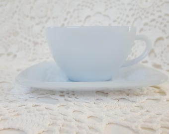 Blue Fire King Anchor Hocking Tea Coffee Cup and Saucer Set Azurite Blue