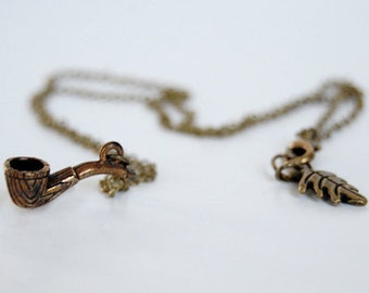 Wizard Pipe Necklace | Tiny Brass Pipe Charm Necklace | Fantasy Pipe Pendant