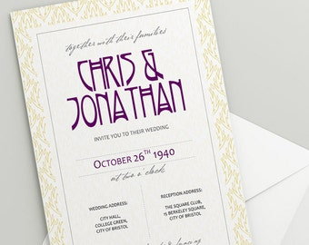 Printable Wedding Invitation Download 'Yellow' // DIY TEMPLATE // Word Mac or PC // 5 x 7 // Change artwork colour // Luxury Design