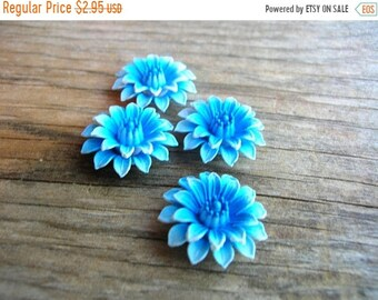 Supply Clearance Vintage Flower Cabochons - Blue Composition Flowers - Jewelry Supplies - Blue Carnations - Blue Dahlias