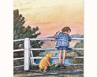 "Winnie the Pooh Wall Art (Childrens Book Lover Gift, Baby Girl Nursery Print, Boys Room Decor) Pooh Bear Artwork -- ""Pooh Sticks Game"""