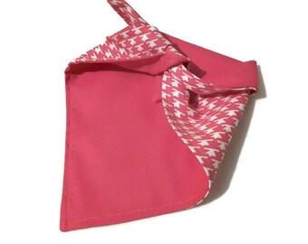 Dog Bandana - small reversible pink houndstooth doggy accessory