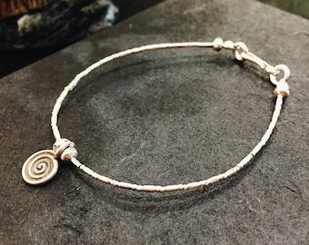 Silver Beaded Bracelet, Silver bracelet, Beaded bracelet, Sterling bracelet, Minimal bracelet, Simple bracelet, Spiral bracelet, Bracelet