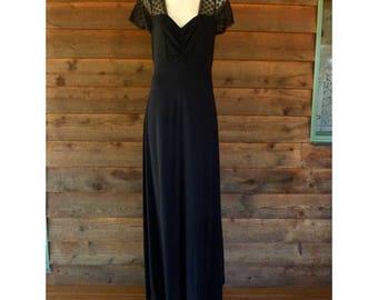 Vintage 60s Thomas Wardle, black stretch dress with lace shoulders, Size M