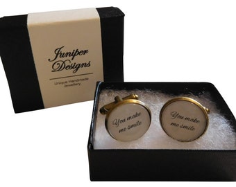 """Handcrafted """"You Make Me Smile"""" Cuff links - Fun husband gift for birthday or Christmas gift for Boyfriend"""