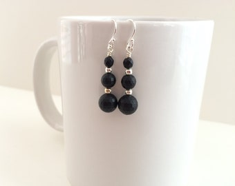Black onyx drop sterling silver earrings. Sterling silver dangle earrings. Black gemstone bead earrings. Black minimalist beads and chain.