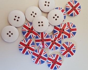 set of 10 wooden United Kingdom flag buttons