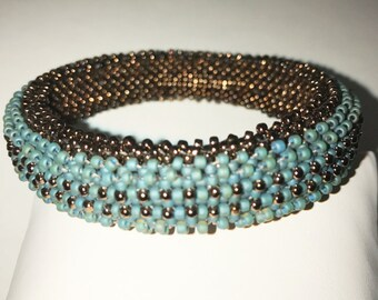 Teal and Dark Gold Beaded Bangle