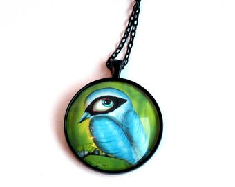 "Necklace with print of the norweigian bird ""Spettmeis"". Digital illustration by Susann Brox Nilsen. Lowbrow, gift for her, nature, owls."
