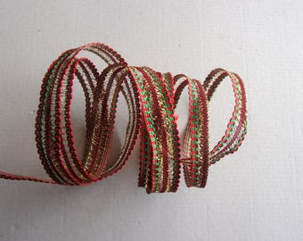5 meters lace fancy Christmas colors red green and gold 15mm wide - REF. 361