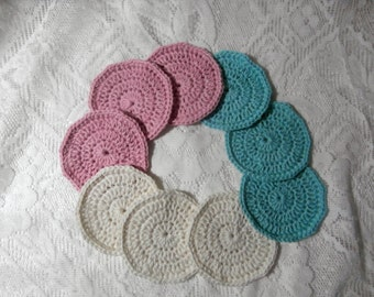 Makeup Remover Pads - 9 Eco-Friendly Crochet Scrubbies - Pink White Blue Tropical Colours Recycled Cotton Reusable Cosmetic Wash Pads