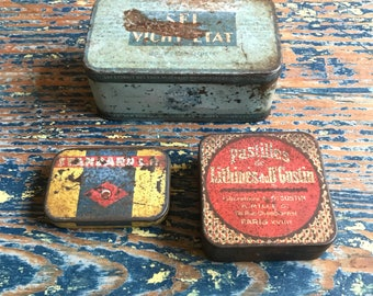 3  Vintage French Tins